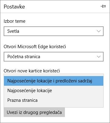 """Edge postavke za prikazivanje kartice """"Moj Office 365"""""""