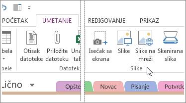 Umetanje slike u programu OneNote.