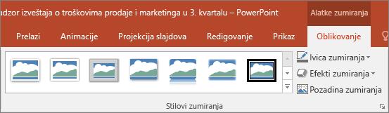 """Prikazuje različite stilove zumiranje i efekte možete da odaberete na kartici """"Oblikovanje"""" u programu PowerPoint."""
