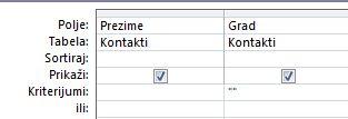 dizajner upita sa kriterijumima podešenim da prikazuju zapise sa praznim poljem sa vrednostima