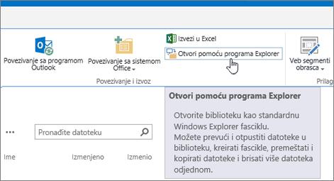 Otvori u programu Explorer na kartici biblioteka