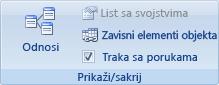 Slika trake programa Access