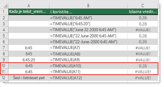 Rezultat različitih TIMEVALUE funkcija