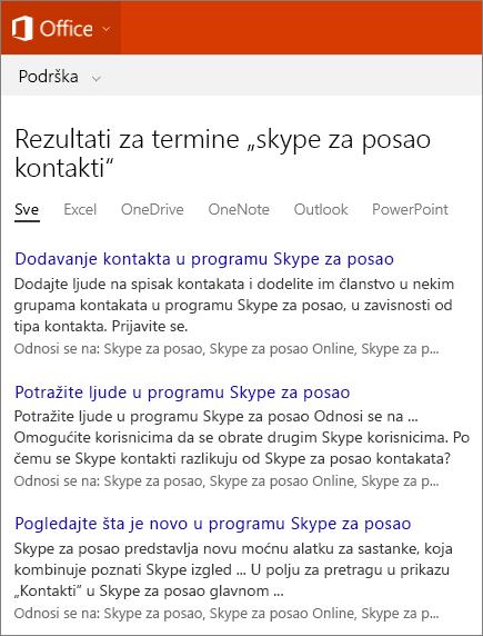 Snimak ekrana rezultata pretrage za Skype za posao kontakte na sajtu Office podrške.