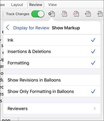 Show Markup menu