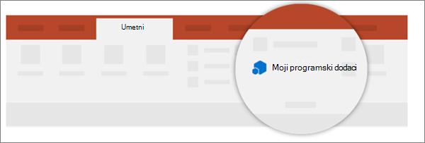 """Možete da vidite programskih dodataka u moji programski dodaci sa kartice """"Umetanje""""."""