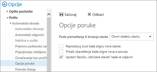 """Snimak ekrana pokazuje dijalog """"Opcije poruke"""" u kom je označeno polje za potvrdu """"Isprazni fasciklu sa izbrisanim stavkama kada se odjavim""""."""