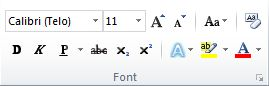 "Grupa ""Font"" na kartici ""Početak"" na traci programa Word 2010."