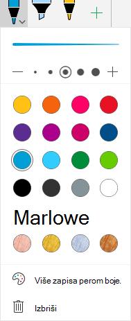 Mastilo boja i efekti za crtež perom u sistemu Office na Windows Mobile