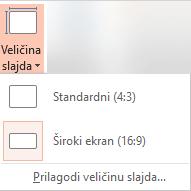 Dugme veličina slajda u grupi Prilagođavanje