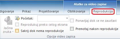 Reprodukcija kartica na glavnoj traci programa PowerPoint ima opcije za izbor kako da reprodukujete video zapis.