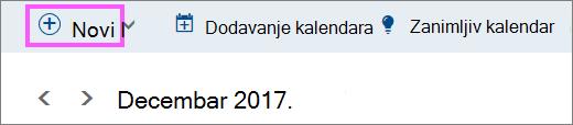 "Snimak ekrana dugmeta ""novo"""