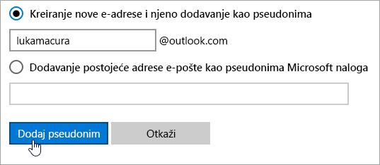 Snimak ekrana pseudonim stranici dodavanje.