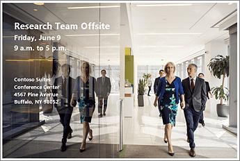 Letak događaja koji objavljuje okupljanje tima za istraživanje van kancelarije 9. juna. Slika sadrži fotografiju i adresu prostora za konferencije.