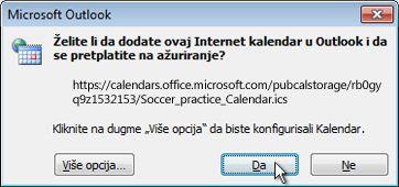 """Dijalog """"Svi internet kalendari treba da se dodaju u Outlook"""""""