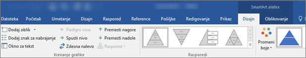 Kartice SmartArt alatke, dizajn i oblikovanje