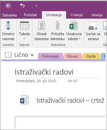 Snimak ekrana umetanja novog Visio dijagrama u OneNote 2016.
