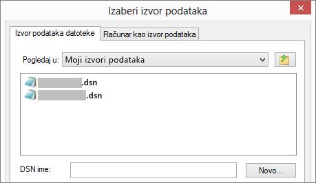 """Dijalog """"Izbor izvora podataka"""""""