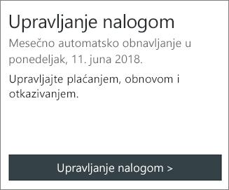 Možete da vidite datum pretplate automatski-obnavlja u odeljku upravljanje nalogom.