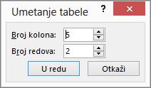 "Prikazuje dijalog ""Umetanje tabele"" u programu PowerPoint"