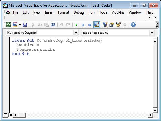 Potprocedura u programu Visual Basic Editor