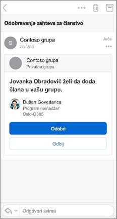 E-poruka sa dugmadima za odobravanje i odbijanje