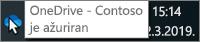 Snimak ekrana koji prikazuje kursor postavljen iznad plave ikone OneDrive na traci zadataka sa tekstom OneDrive – Contoso.
