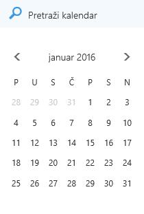 Polje za pretragu kalendara