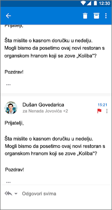 E-poruka sa 3 tačke sa desne strane