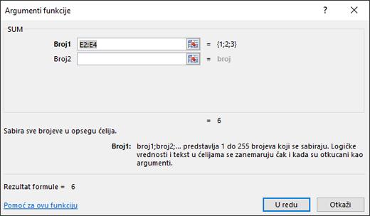 Čarobnjak za funkcije programa Excel