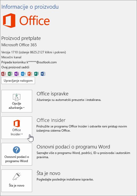 Saglasnost za Office Insider u aplikaciji.
