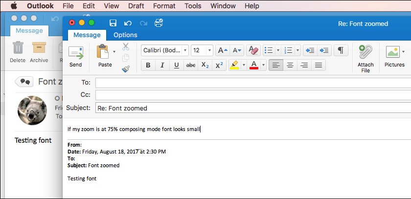 Veličina fonta za Outlook for Mac