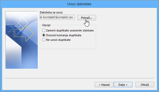 Potražite csv datoteku sa kontaktima i odaberite način rukovanja dupliranim kontaktima