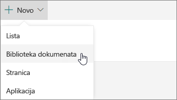 "Meni ""Novo"" u usluzi SharePoint Online"