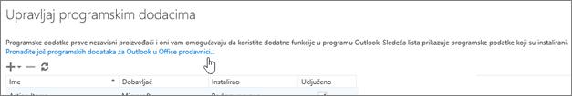 """Prikazuje odeljak stranice """"Upravljanje programskim dodacima"""" gde su navedeni instalirani programski dodaci uz vezu ka više programskih dodataka za Outlook u Office prodavnici."""