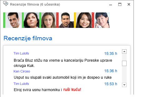 Snimak ekrana prozora sobe za ćaskanje koji prikazuje novu objavljenu poruku sa podebljanim crvenim fontom i dodatim emotikonom