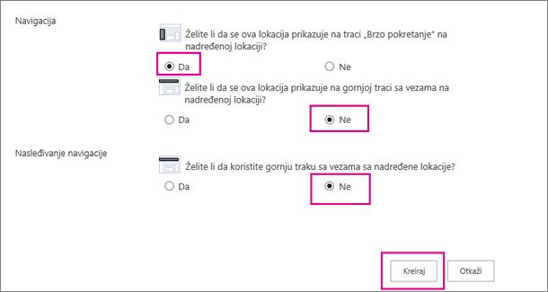 """Kliknite na dugmad """"Da"""" ili """"Ne"""", a zatim odaberite stavku """"Kreiraj""""."""