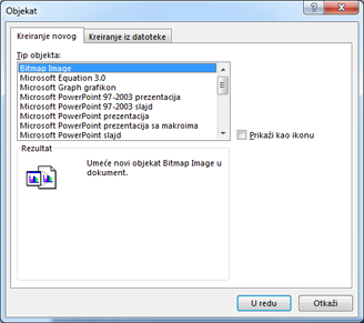 Insert Object dialog box