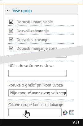 Napredni odeljak sa ciljane grupe korisnika lokacije istaknuta svojstva Veb segmenta