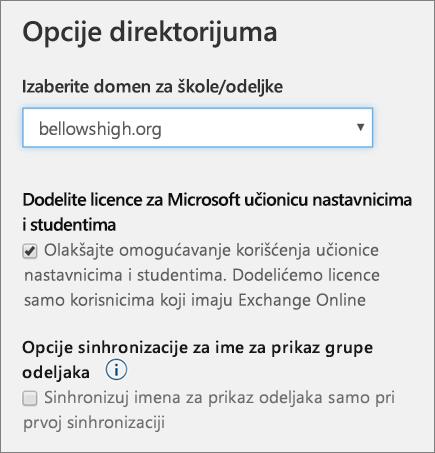 Snimak ekrana izbora domena za sinhronizaciju profila i poljima za potvrdu da biste dodelili Microsoft Classroom licenci i ime za prikaz odeljak grupe u školi podataka sinhronizacije