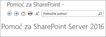 Zaglavlje okna za pomoć za SharePoint 2016