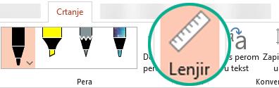 """Šablon """"Lenjir"""" nalazi se na kartici """"Crtanje"""" na traci u programu PowerPoint 2016."""