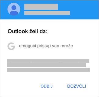 """Dodirnite stavku """"Dozvoli"""" da biste programu Outlook dali pristup van mreže."""