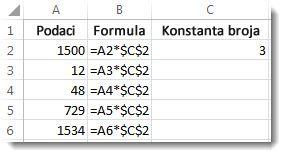 Brojevi u koloni A, formula u koloni B sa znakovima $ i broj 3 u koloni C