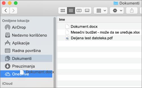Mac Nalazač prozor koji prikazuje prevlačenja i otpuštanja da premestite datoteke