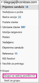 Outlook 2016 okno za navigaciju sa istaknutim grupama