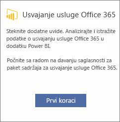 """Odaberite stavku """"Prvi koraci"""" na kartici """"Office 365 Adoption"""""""