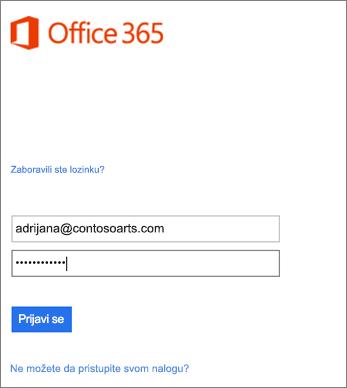 Prijavite se na nalog organizacije u programu Outlook