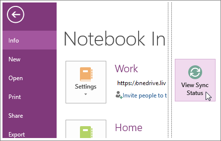 Pregled statusa sinhronizacije OneNote beležnica.