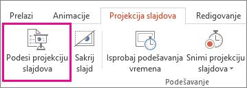 Dugme Podesi parametre projekcije slajdova